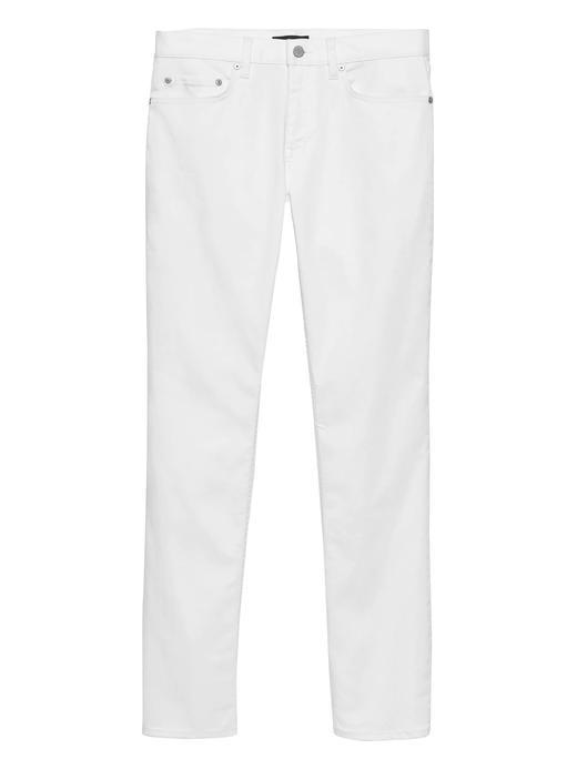 Erkek Beyaz Slim Lekeye Dayanıklı Jean Pantolon