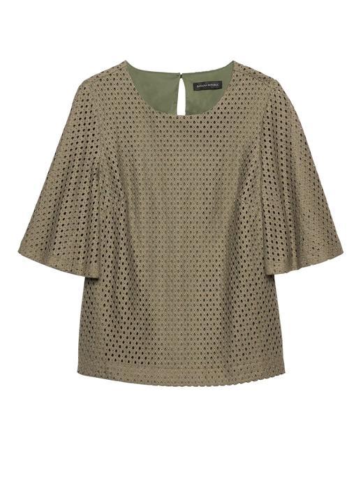 Kadın yeşil Dantelli Yarım Kollu Bluz