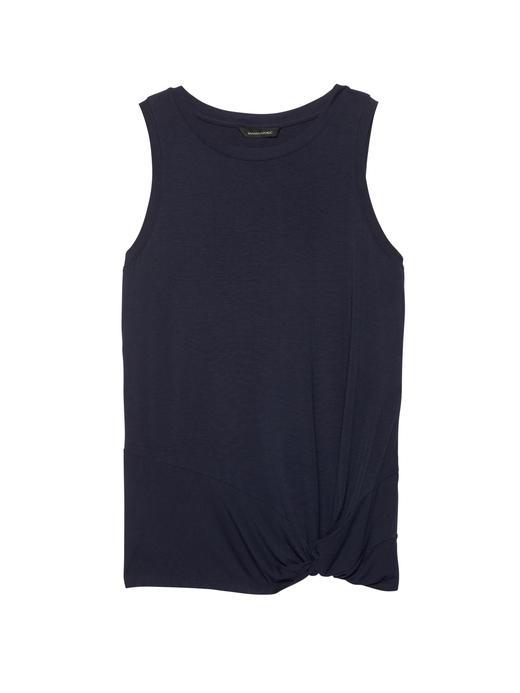 Kadın PREPPY NAVY Streç-Modal Kolsuz Bluz