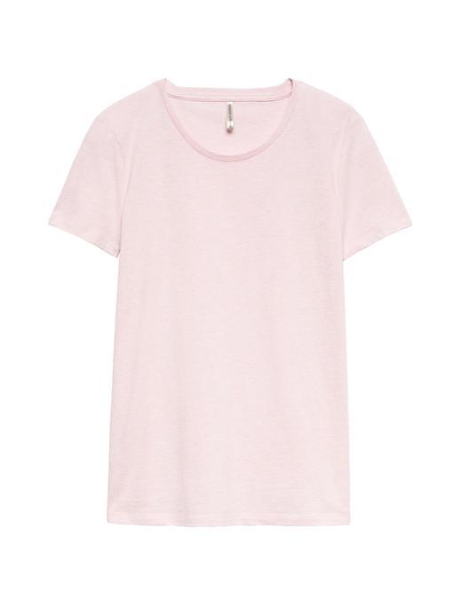 Kadın pembe SUPIMA® Pamuklu Yuvarlak Yaka T-Shirt
