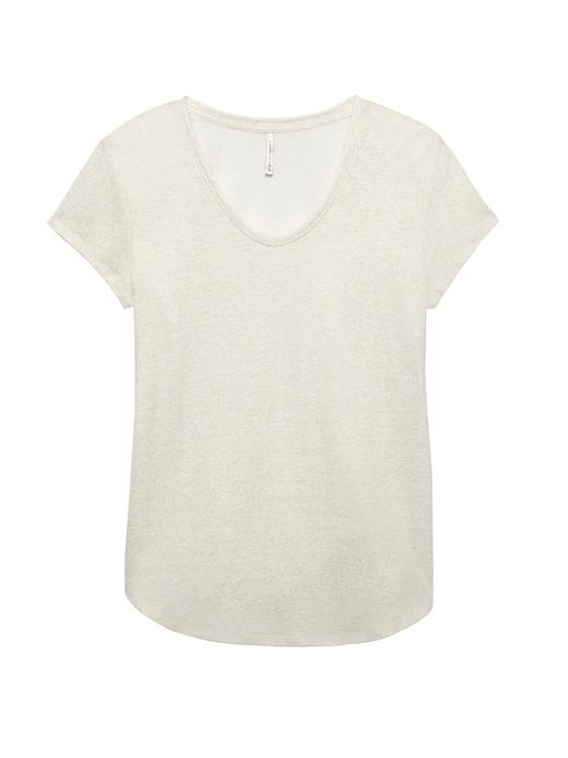Kadın pembe altın Keten Karışımlı T-Shirt