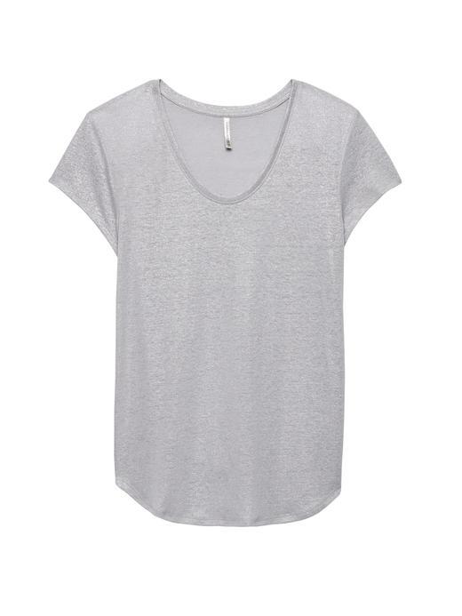 Keten Karışımlı T-Shirt