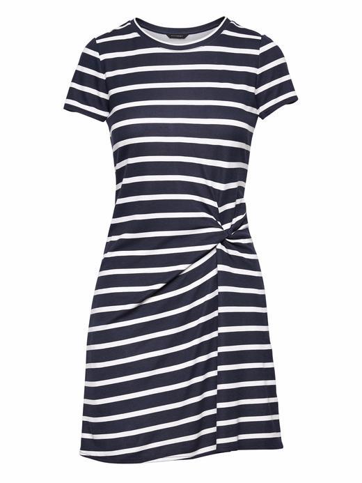Kadın lacivert çizgili Kısa Kollu Çizgili Elbise