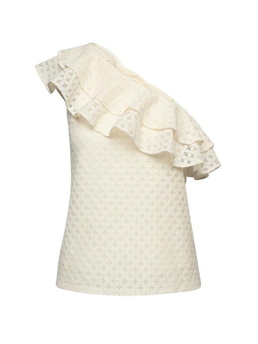 Kadın beyaz Tek Omuzlu Dantel Detaylı Bluz