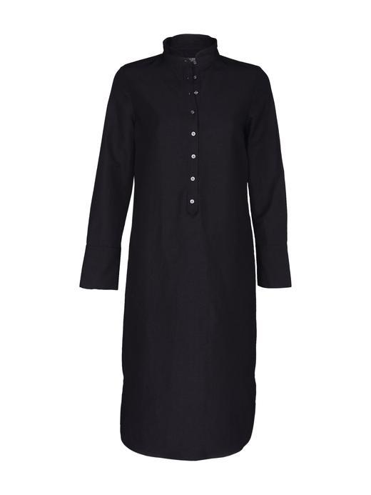 Kadın siyah Uzun Kollu Düğmeli Gömlek Elbise