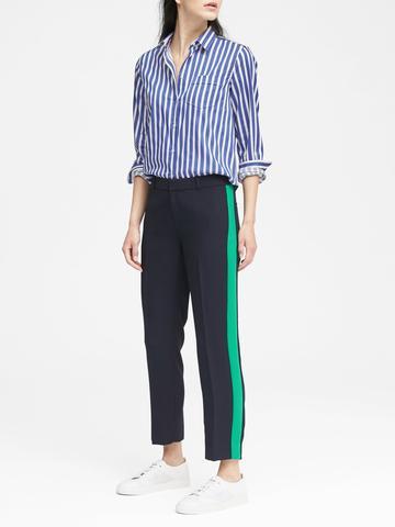 Kadın lacivert Avery Straight-Fit Çizgi Detaylı Pantolon