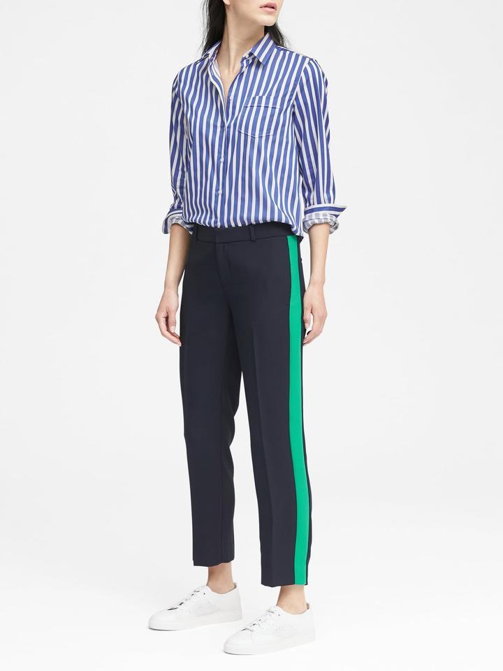 Avery Straight-Fit Çizgi Detaylı Pantolon