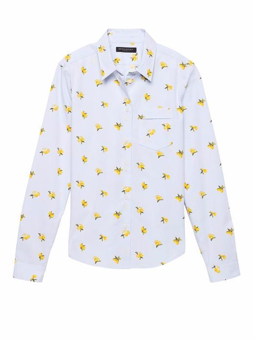 Quinn Boy-Fit Limon Desenli Super Streç Gömlek