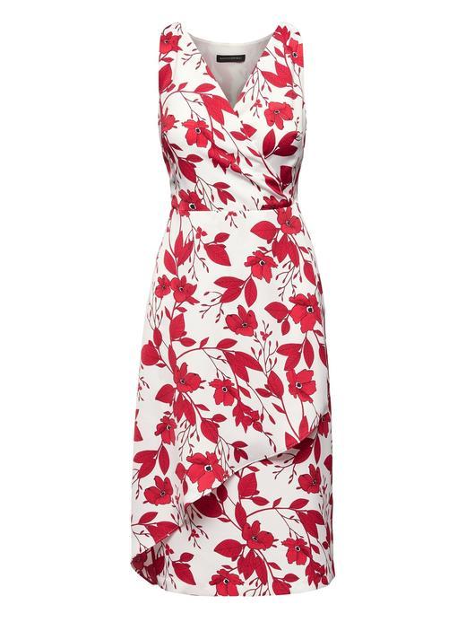 Çiçekli Kolsuz Midi Elbise