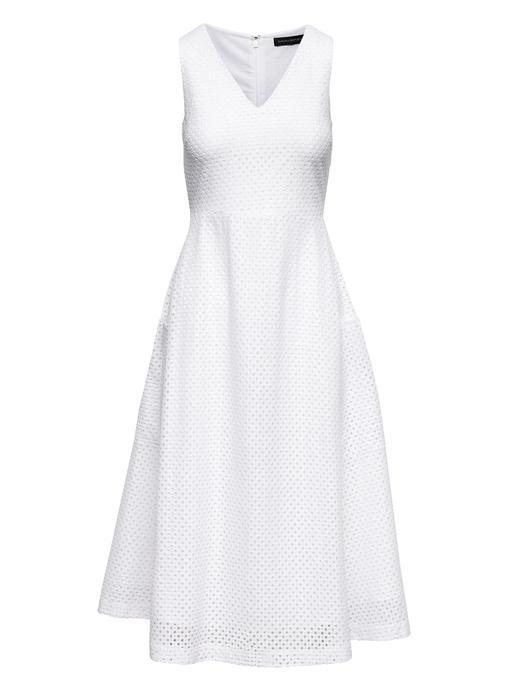 Kadın Beyaz Fit-and-Flare Midi Elbise