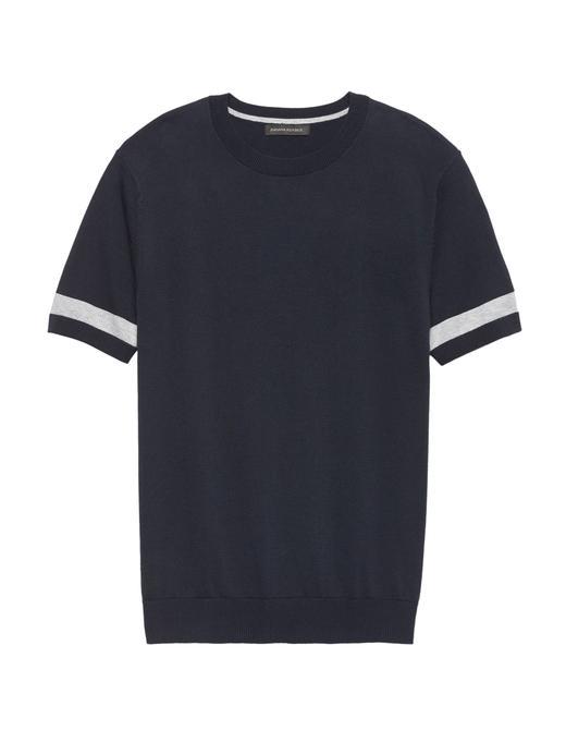 SUPIMA® Çizgili Sıfır Yaka T-Shirt