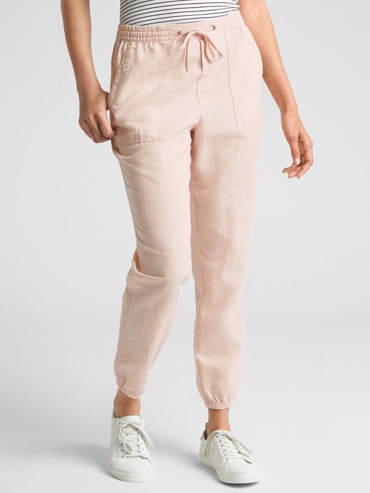 Kadın pembe Keten ve Pamuk Karışımlı Jogger Pantolon
