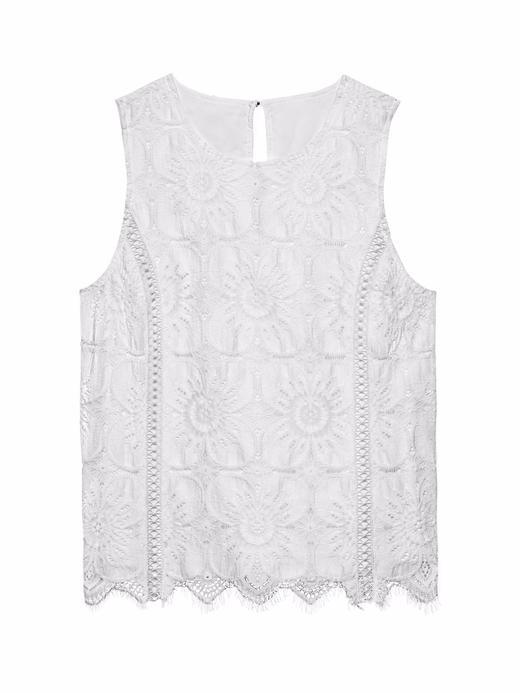 Kadın Beyaz Kolsuz Dantel Bluz