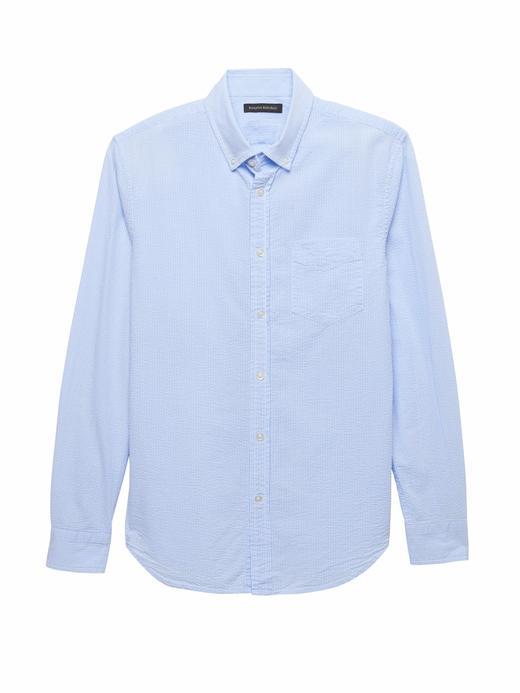 Erkek Mavi Grant Slim-Fit Çizgili Gömlek