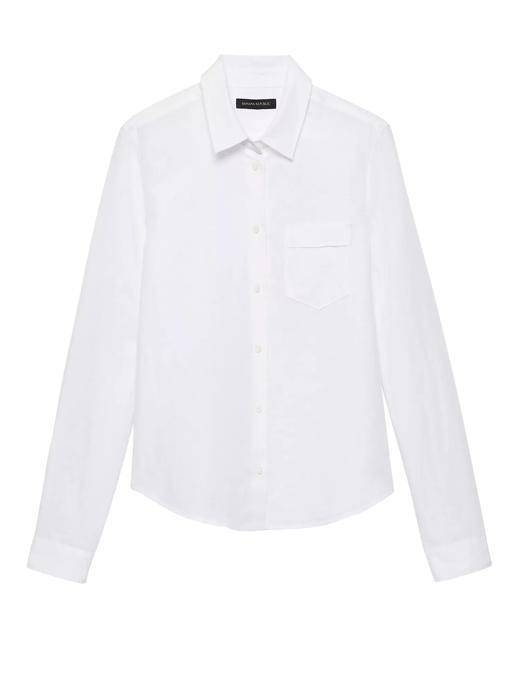 Kadın Beyaz Quinn Boy-Fit Keten ve Pamuk Karışımlı Gömlek