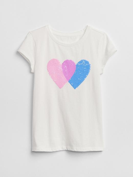 Kız Çocuk kırık beyaz Pullu Baskılı T-Shirt
