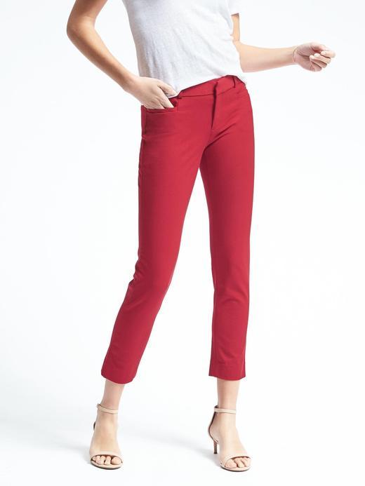 Kadın parlak kırmızı Sloan-Fit Slim Bilekte Biten Pantolon