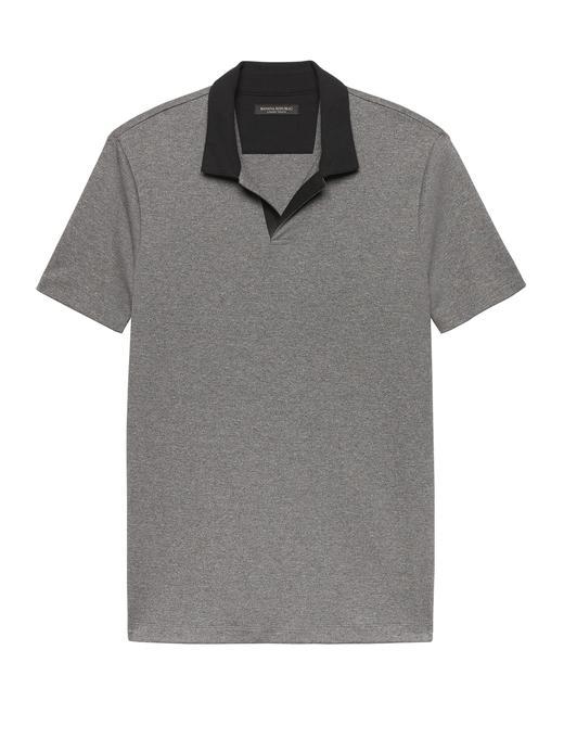Erkek kırçıllı gri Luxury-Touch Polo Yaka T-Shirt