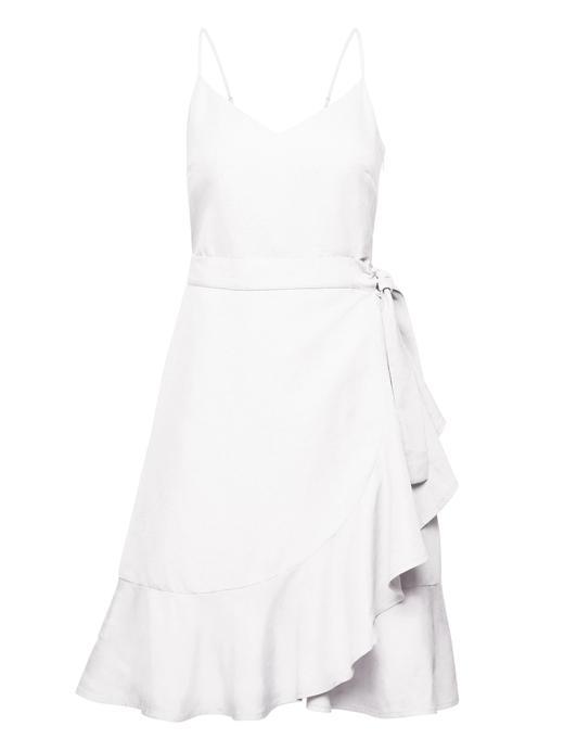 Keten Karışımlı Fırfırlı Elbise
