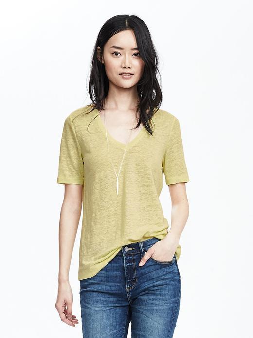Kadın açık sarı Keten V yaka t-shirt