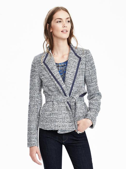 Kadın mavi desenli Kuşaklı ceket