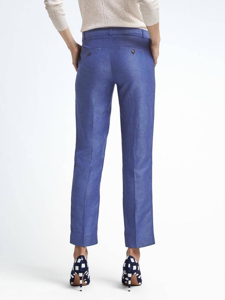 Kadın mavi Avery-Fit keten karışımlı pantolon