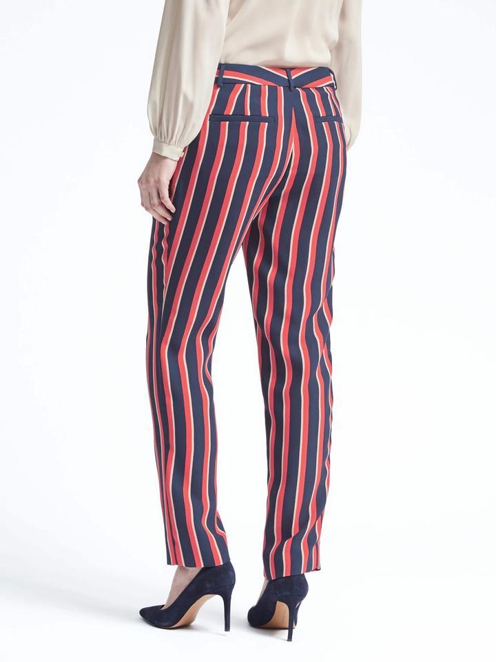 Kadın çok renkli çizgili Ryan-Fit çizgili pantolon