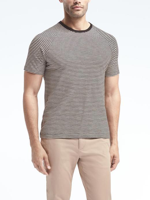Kısa Kollu Sıfır Yaka Çizgili T-Shirt