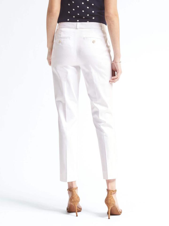 Kadın Beyaz Avery-Fit beyaz bilekte biten pantolon