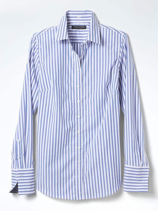 Kadın mavi çizgili Riley-Fit gömlek
