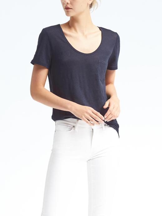 Kısa kollu keten t-shirt