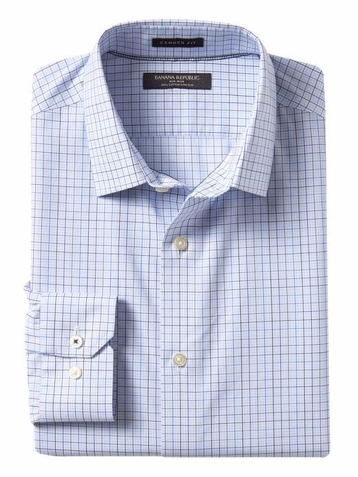Erkek mavi Camden Standard-Fit Ütü Gerektirmeyen Streç Ekose Gömlek