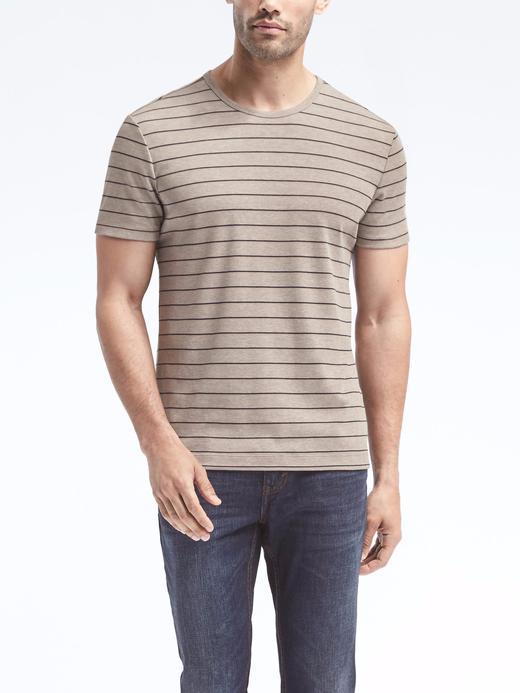 camel Luxury-Touch Çizgili Sıfır Yaka T-Shirt