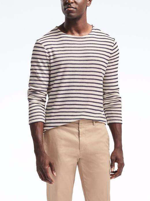 Sıfır yaka uzun kollu çizgili t-shirt