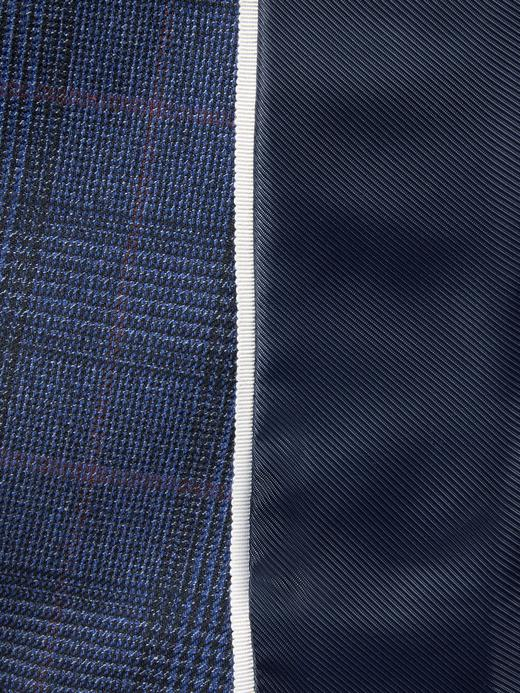 Kadın mavi Double Breasted-Fit Ekoseli Blazeer Ceket