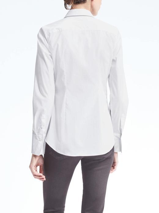 Kadın Beyaz Riley Tailored-Fit Lekeye Dayanıklı Streçli Gömlek
