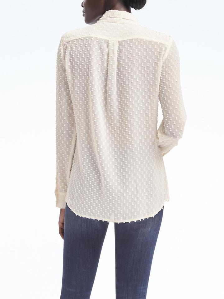 Kadın Beyaz Dillon-Fit Puantiyeli Gömlek