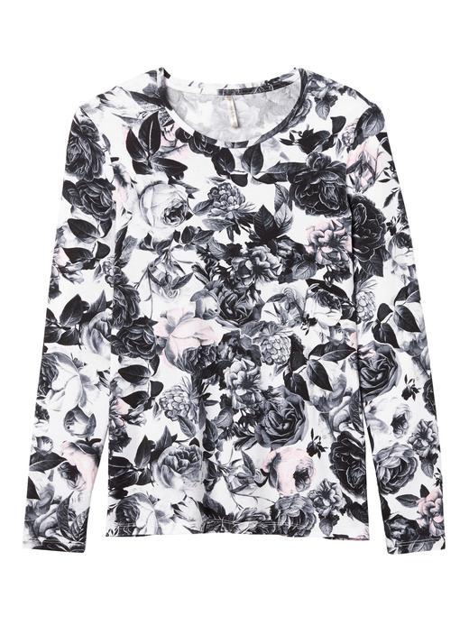 Çiçekli streç-modal uzun kollu t-shirt