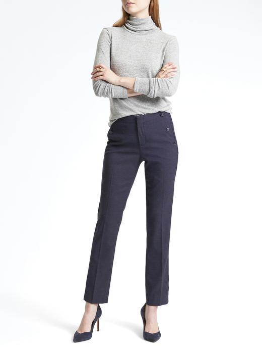 Ryan-Fit düğme detaylı pantolon