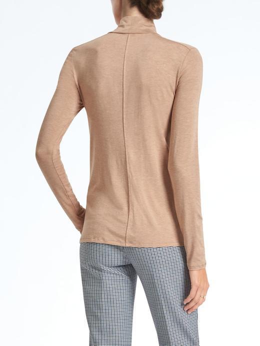 Kadın camel Uzun kollu streç-modal boğazlı üst