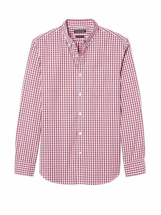 Erkek Kırmızı Grant Slim-Fit Pamuklu Oxford Gömlek