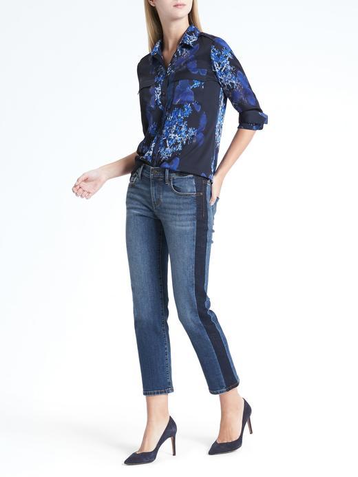 Kadın lacivert Dillon-Fit Çiçek Desenli Gömlek