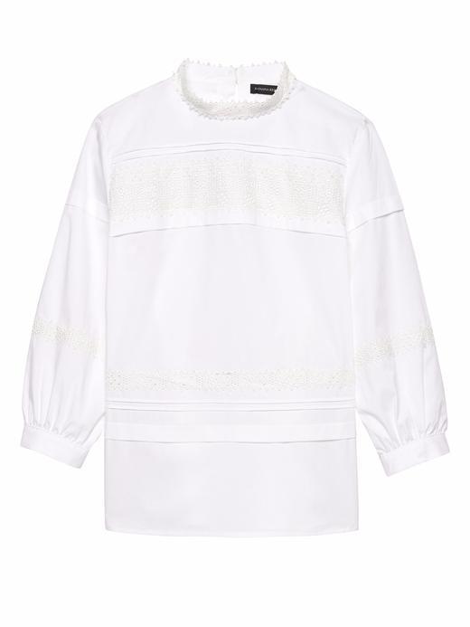 Kadın Beyaz Uzun Kollu Dantel İşlemeli Bluz