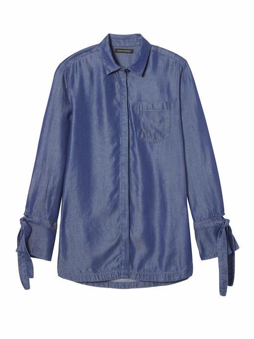 Kadın rinse Kolları Bağlamalı Şambre Gömlek