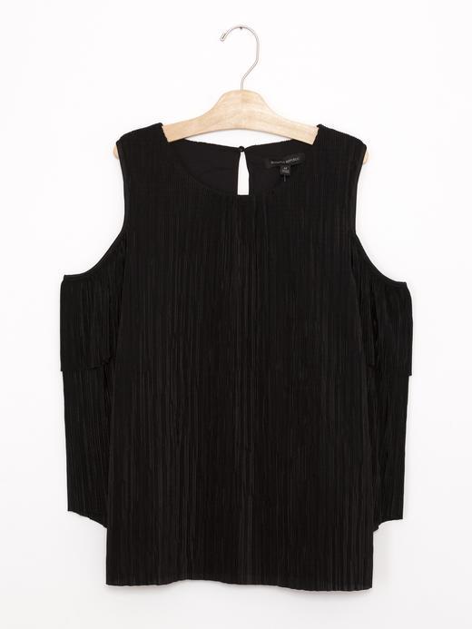 Kadın siyah Uzun Kollu Açık Omuzlu Pilili Bluz