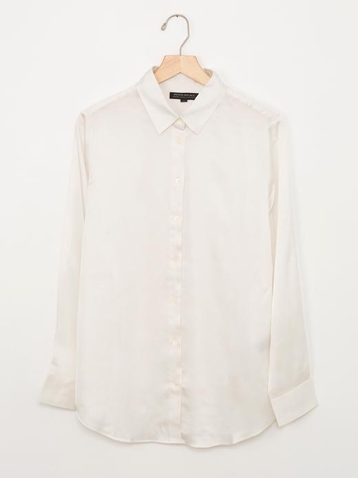 Kadın Beyaz Dillon-Fit Klasik Yumuşak Bluz