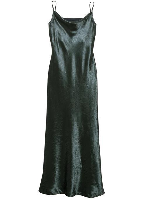 Saten Askılı Maxi Elbise
