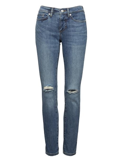 Kadın mavi Slim-Straight Orta Yıkamalı Jean Pantolon
