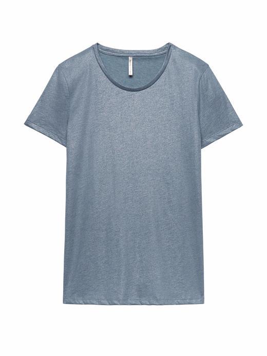 Supima® Pamuklu Sıfır Yaka Metalik T-Shirt