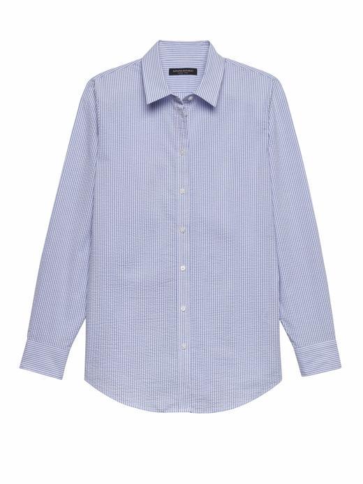 Kadın mavi Dillon-Fit Çizgili Gömlek